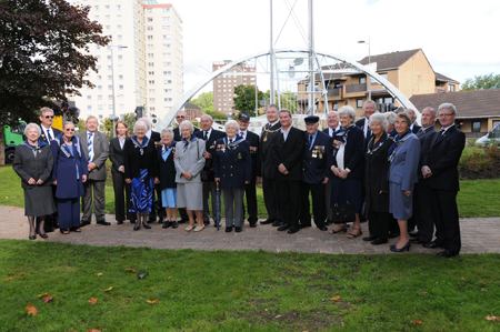 The Ramiiles Association and Councillors of West Dumbartonshire Council on the day of their visit to the sculpture